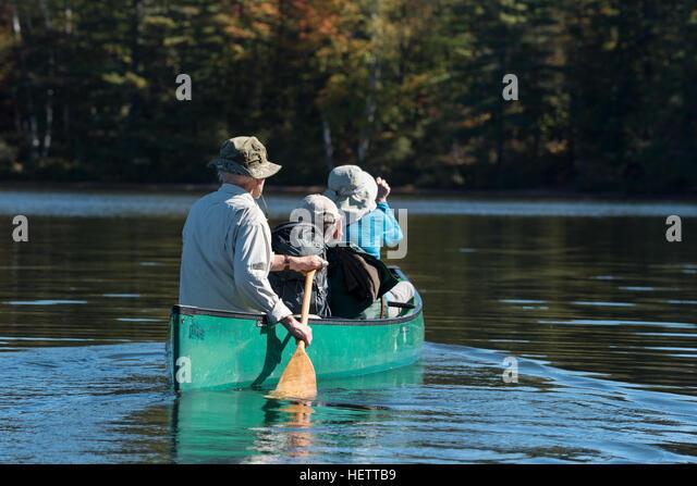 Canoeing in the St. Regis Canoe Area of Adirondack State Park, New York. - Stock Image