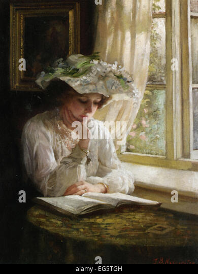 Thomas Benjamin Kennington  Lady Reading by a Window - Stock Image