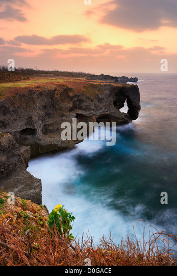 Manzamo, a famed coral reef cliff in Okinawa, Japan. - Stock Image