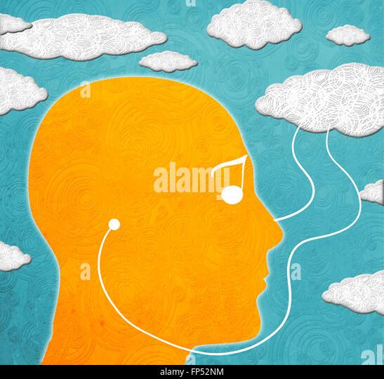 cloud computing music digital illustration - Stock-Bilder