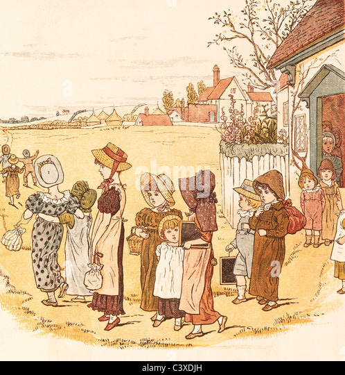 School is Over, by Kate Greenaway. England, late 19th century - Stock-Bilder