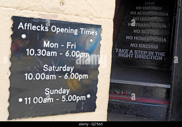 Afflecks Palace Manchester opening hours & steps - Stock Image