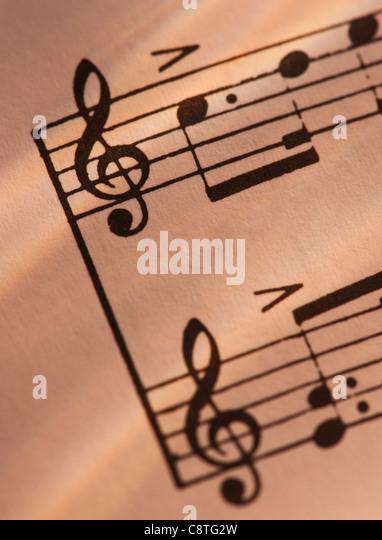 Close-up of sheet music, studio shot - Stock-Bilder