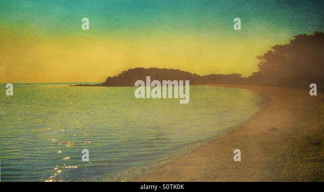 Green Yellow Sky Seascape with Beach and Trees - Stock Image