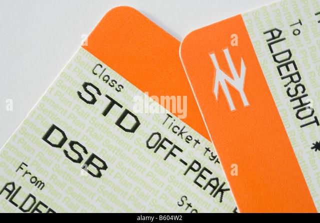 Britain UK British rail tickets for Standard off-peak travel day return for disabled traveller - Stock-Bilder