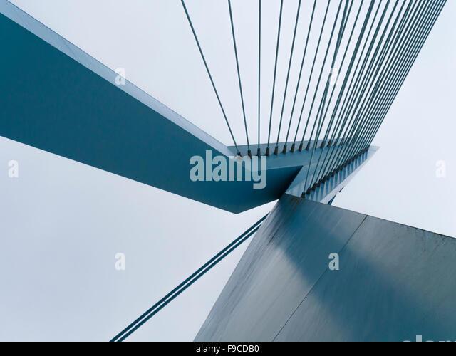 Steel pylon 'De Zwaan' and steel cables of Erasmus Bridge (Erasmusbrug) in Rotterdam, Netherlands. - Stock Image