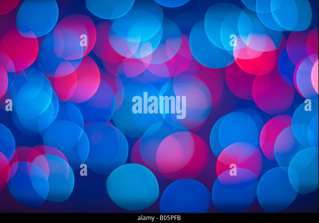 Vivid abstract background - defocused blue and red christmas lights. - Stock-Bilder