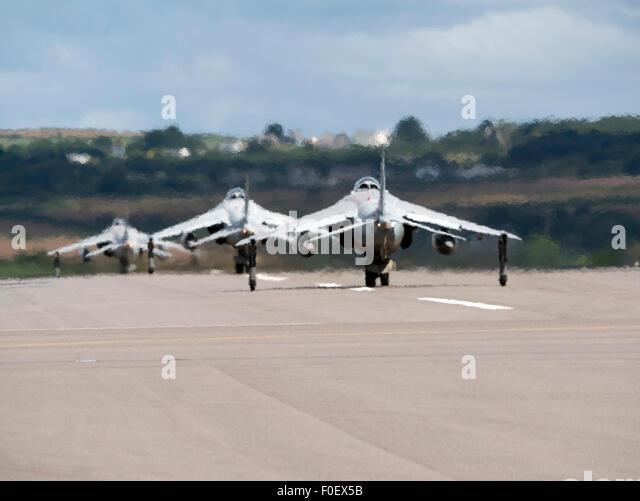 Sea Harriers taxiing at Culdrose Cornwall UK - Stock Image