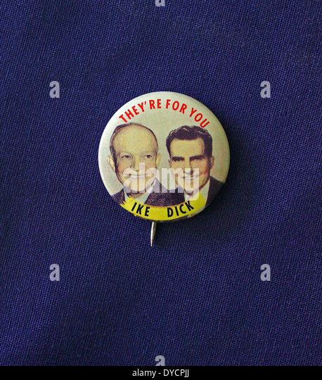 A political pin worn by the Republican supporters of Ike (Dwight Eisenhower) and Dick (Richard Nixon) during the - Stock Image