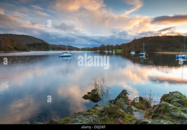 Late afternoon at the southern tip of Coniston Water. - Stock Image