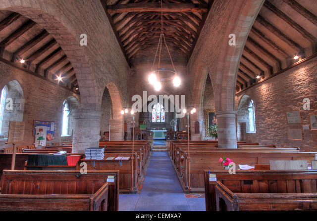 Interior view of St Marys Church Linton, Forest of Dean Micheldean, Gloucester, Glos, England, UK. Shows stonework - Stock Image