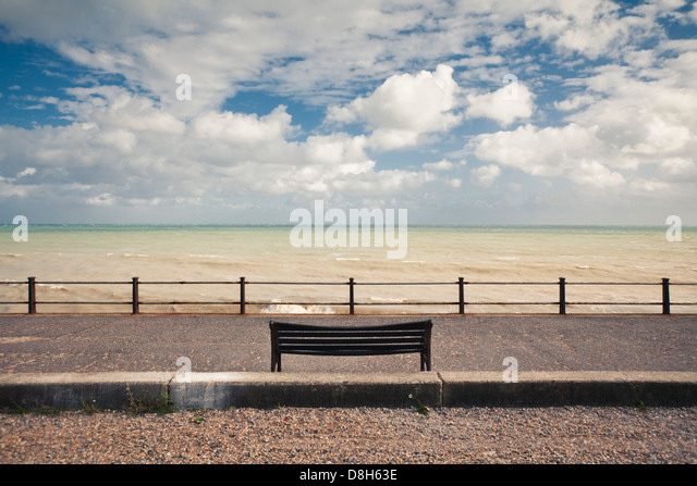 Bench on the coast, Dover, England, United Kingdom - Stock Image