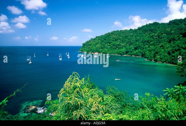 Tobago Charlotteville Pirat s bay sailing boats - Stock Image
