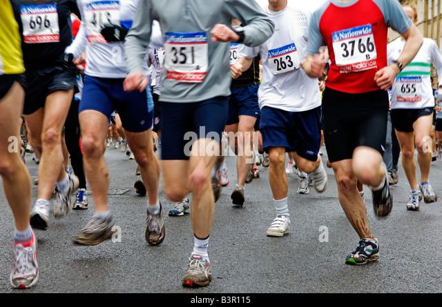 marathon race runners legs - Stock Image