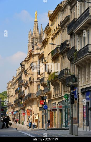 Cours d'Alsace et Lorraine with Tour Pey-Berland behind, Bordeaux, Gironde, Aquitaine, France - Stock Image