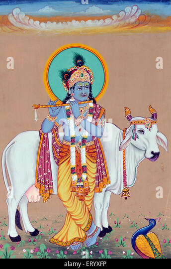 Miniature painting of God  Krishna - Stock Image