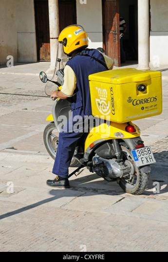Correos, postal moped, postman, Chinchon, Spain, Europe, PublicGround - Stock Image