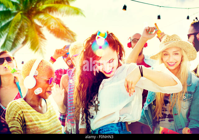 Friendship Dancing Bonding Beach Happiness Joyful Concept - Stock Image
