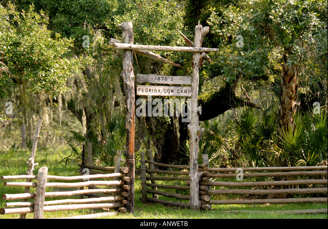 Florida Kissimmee State Park  entrance sign cow camp - Stock Image