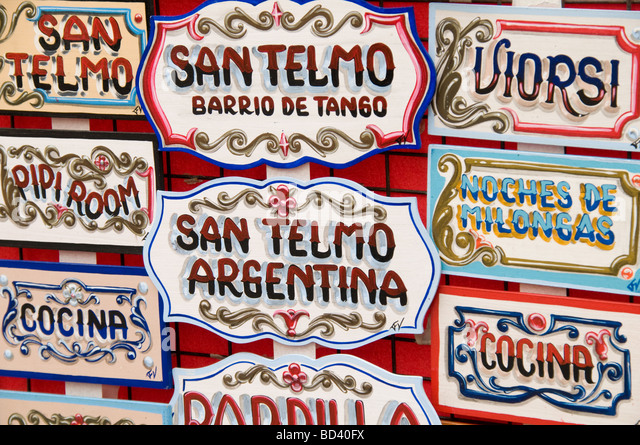 signs in san telmo, buenos aires, argentina - Stock Image