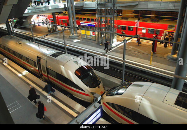 Tgv trains at station ; Germany - Stock Image