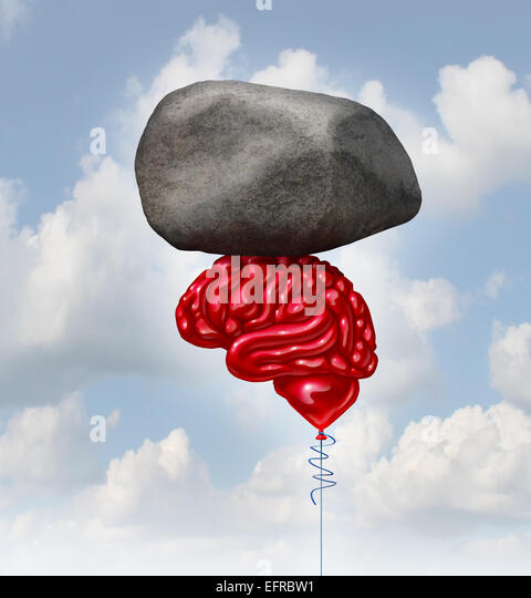 Brain power concept as a red balloon shaped as a human thinking organ lifting up a heavy rock as a symbol and mental - Stock-Bilder