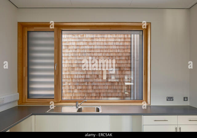 Picture window in kitchen. Herefordshire Archives, Hereford, United Kingdom. Architect: Architype Limited, 2015. - Stock Image