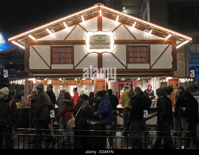 Edinburgh Xmas,Cafe Renee,German Sausage House - Stock Image