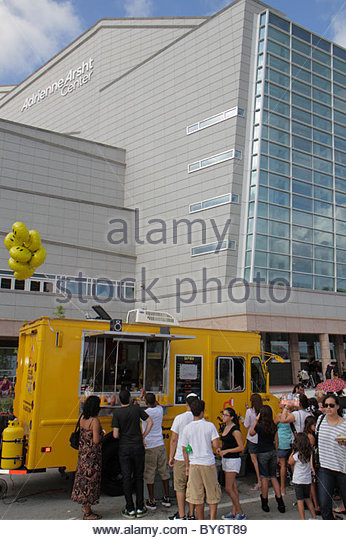 Miami Florida Adrienne Arsht Center for the Performing Arts Fall for the Arts Festival food truck - Stock Image