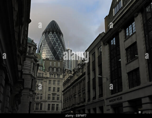 Old & New, Gerkin,St Marys Axe,from Fenchurch St,City of London,England,UK - Stock Image