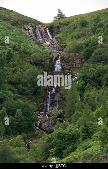 The impressive Rhiwargor Waterfalls near Lake Vyrnwy in Wales - Stock Image
