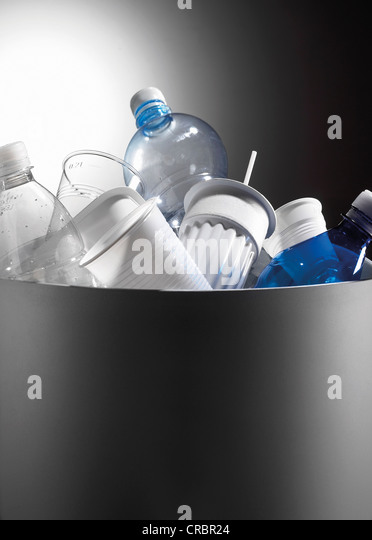 Plastic recycling in bin - Stock Image