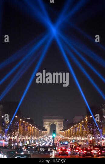 Paris. 1st Dec, 2016. Photo taken on Dec. 1, 2016 shows the Avenue Champs-Elysees in Paris, France. © Chen - Stock Image