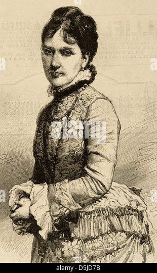 Baroness Kaula. Engraving by Capuz. The Spanish and American Illustration, 1880. - Stock Image
