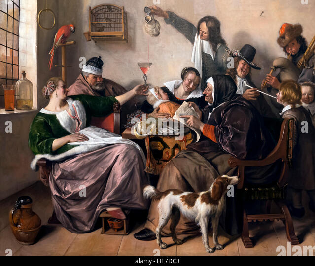 As the Old Sing, So Pipe the Young, by Jan Steen, circa 1665, Royal Art Gallery, Mauritshuis Museum, The Hague, - Stock Image
