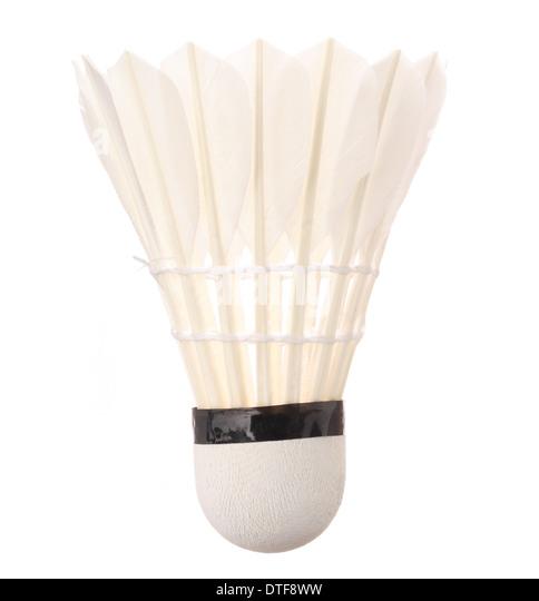 One badminton shuttlecock isolated on white background - Stock Image