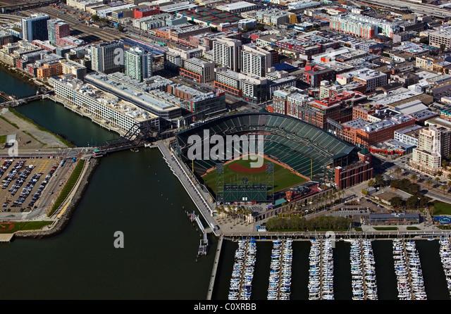 aerial view above AT&T baseball park waterfront San Francisco California - Stock Image