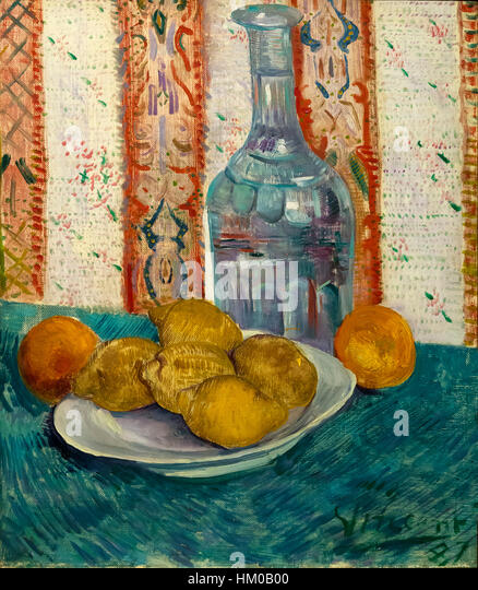 Carafe and Dish with Citrus Fruit, by Vincent van Gogh, 1887, oil on canvas, Rijksmuseum, Amsterdam, Netherlands, - Stock Image