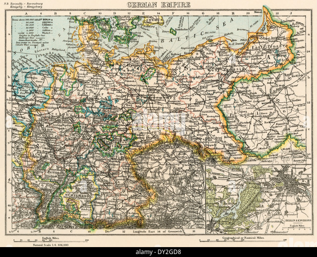 Map of the German Empire, late 1800s. - Stock Image