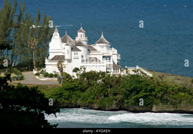 Jamaica Port Antonio Trident Castle Luxery Villa with helicopter pad pool and 8 servants - Stock Image