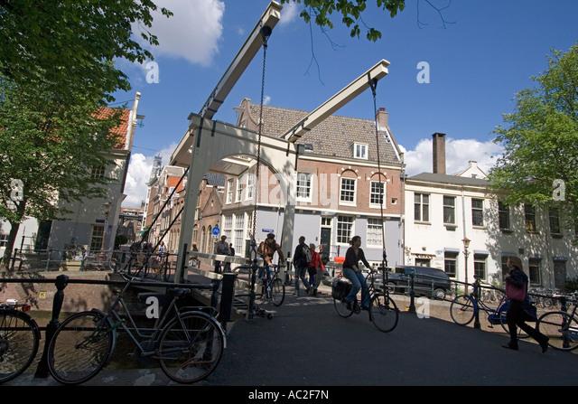 Amsterdam draw bridge bicycles - Stock Image