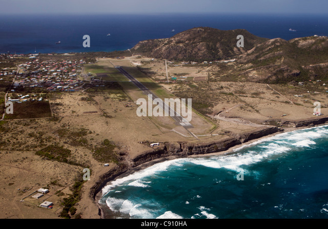 The Netherlands, Oranjestad, Sint Eustatius Island, Dutch Caribbean. View of city and airport. Aerial. - Stock Image