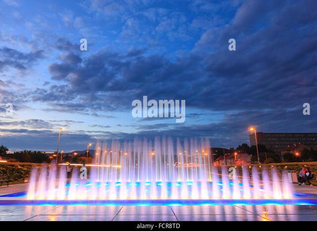 New fountain near new National Library in Zagreb, Croatia. - Stock Image