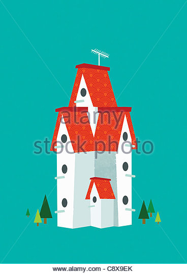 Tall birdhouse - Stock-Bilder