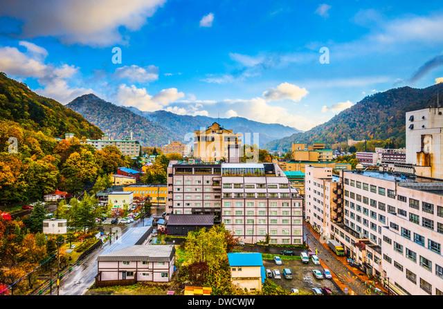 Jozankei, Japan hot spring resort town during the autumn season. - Stock-Bilder
