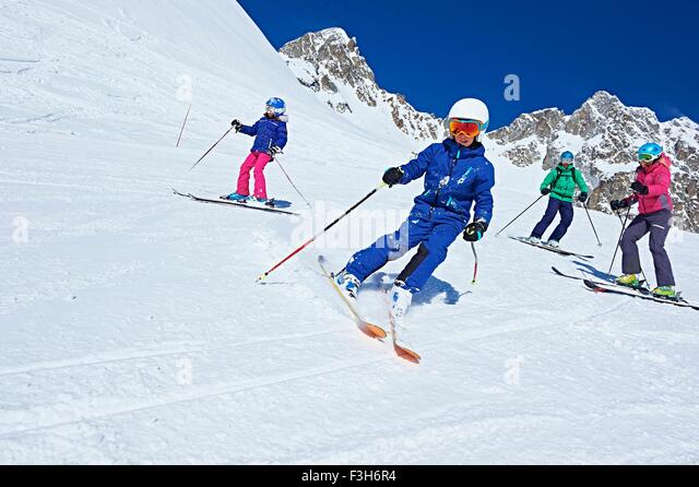 Family on ski trip, Chamonix, France - Stock Image