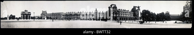Louvre Paris France Europe historical historic history panorama 1908 museum town city - Stock Image