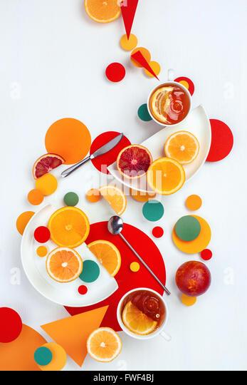 Suprematic lemon tea - Stock Image
