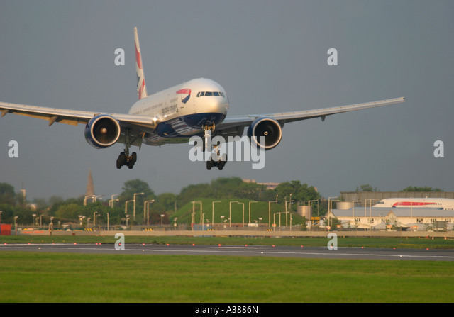 British Airways Boeing 777 about to land at London Heathrow Airport England UK - Stock Image