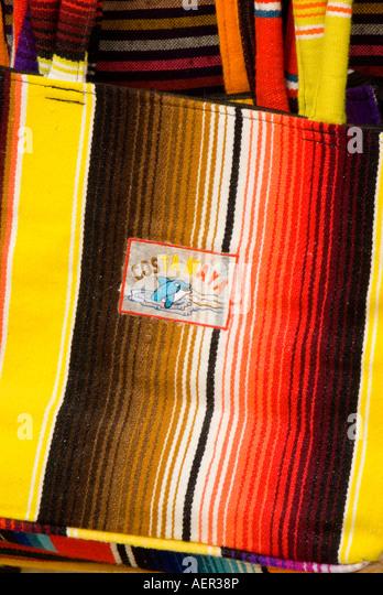 Costa Maya riviera colorful shopping souvenirs crafts handbag mexico - Stock Image
